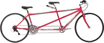 2 Wheel Tandem Bike Red