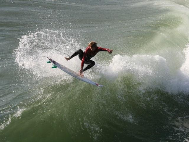 Surfing in Huntington Beach, CA