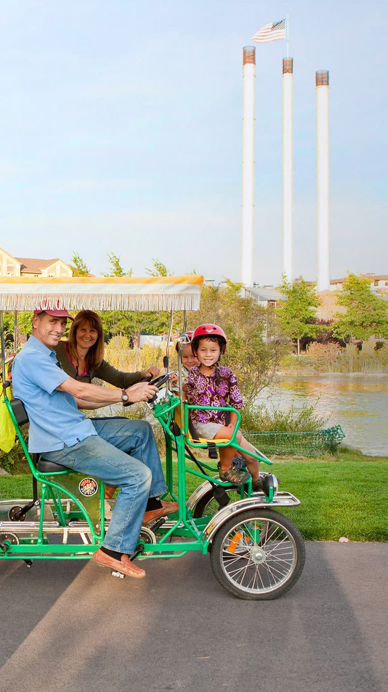 Rent a Surrey Bike with your friends or family and ride around Old Mill Historic District