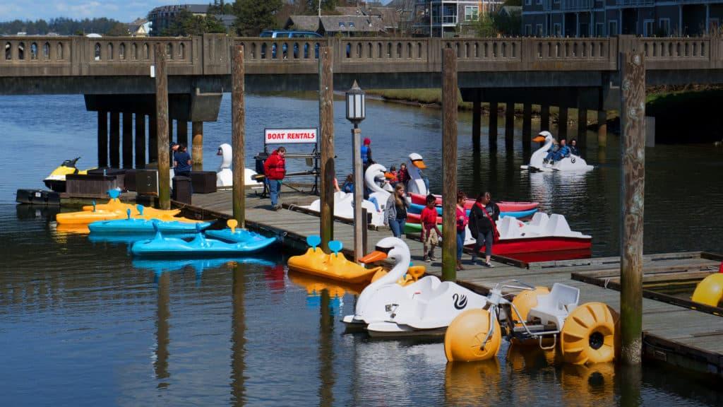 Swan Pedal Boat Rentals in Quatat Park in Seaside, Oregon