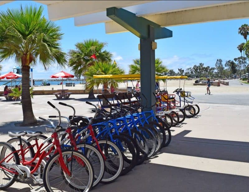 Bike rentals from wheel fun rentals and Doheny State Beach Dana Point.