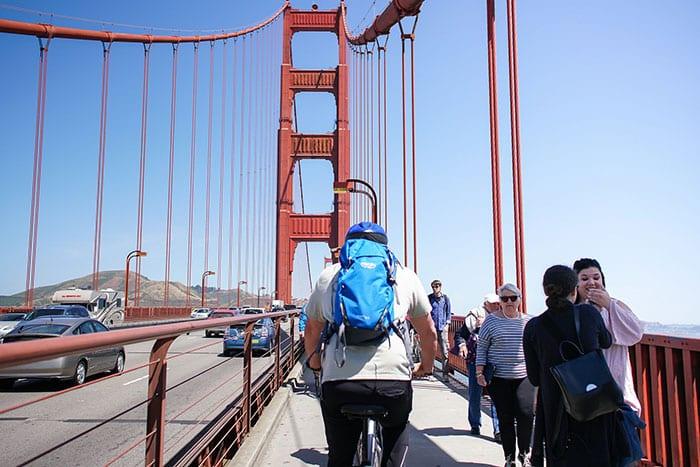 Ride over the Golden Gate Bridge on a bike