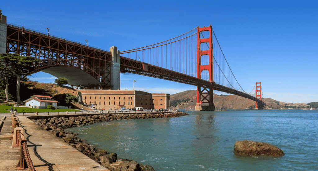 Admire the Golden Gate Bridge and Fort Point on our GPS guided bike tour!