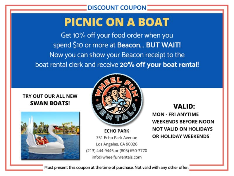 Coupon to save money on food and boat rentals