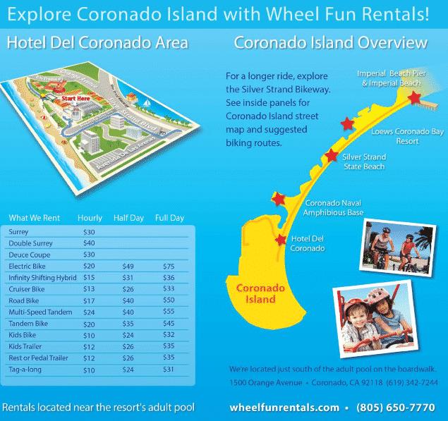 Coronado Island Bike Tour Map   Wheel Fun Rentals