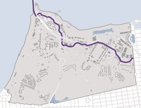 Bike path in San Francisco, CA